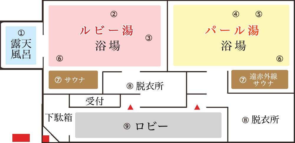 パール湯ルビー湯男女別入浴日